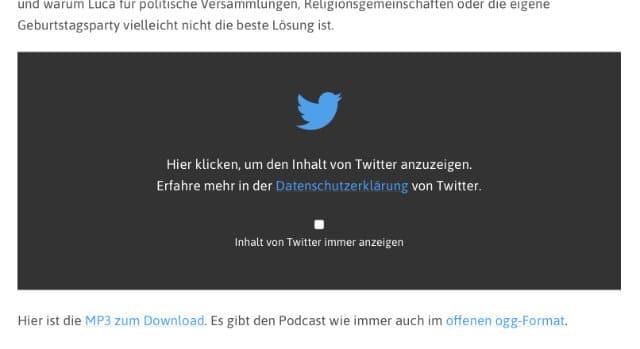 Screenshot eines Datenschutz-Overlays für einen, auf Netzpolitik.org eingebetteten Tweet.